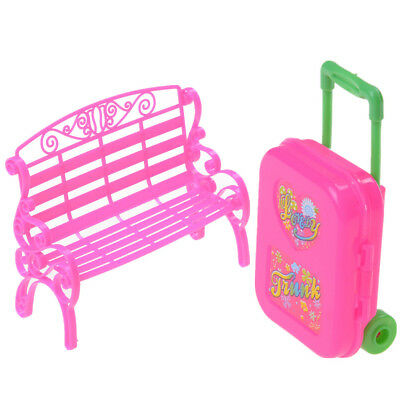 Baby Girl Chair Sofa With Luggage Box For Barbie Doll's House Furniture QW