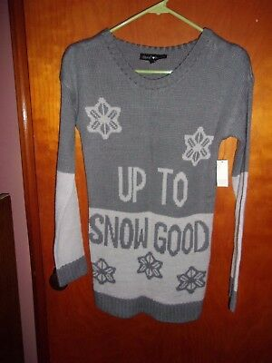 Derek Heart Christmas Sweater Up To Snow Good Gray Size Small New With Tags