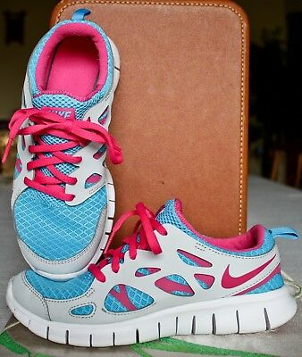 Nike Free Run 2 (GS) Youth Girls Running Shoes Size 6Y Blue Pink 477701 400 Worn