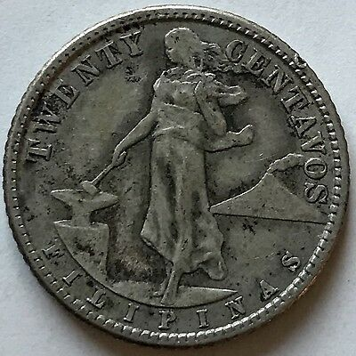 Better Date 1920 Silver 20 Philippines United States 20 Centavos Coin.