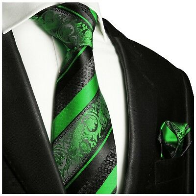 Hand Made Green and Black Silk Tie and Pocket Square Set by Paul Malone