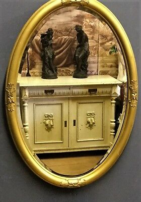 Original Genuine French Gold Gilt Oval Bevelled Wall Mirror