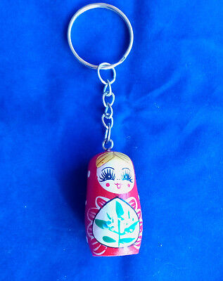 Russian Doll Hand Painted Key Chain Holder Tag Key Ring Advertising