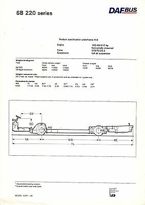 Bus Manufacturer Specification Sheet ~ DAF SB220 series Chassis - 1991