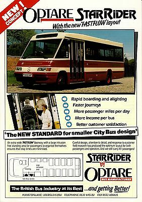 Bus Manufacturer Specification Sheet ~ Optare StarRider - Reading 608: Merc 1989