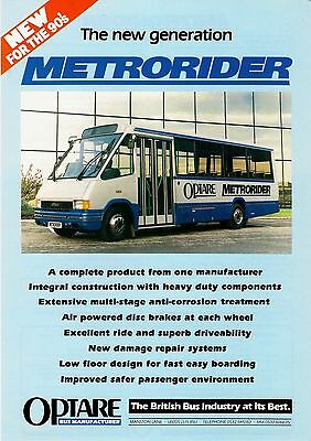 Bus Manufacturer Specification Sheet ~ Optare Metrorider - Demo G689KNW - 1990