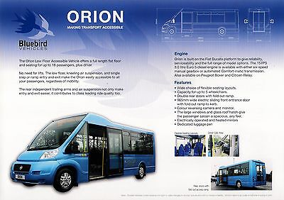Bus Manufacturers Specification Sheet ~ Bluebird Orion - Fiat Ducato - c.2010
