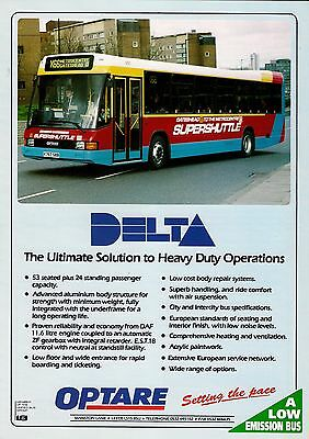 Bus Manufacturer Specification Sheet ~ Optare Delta - Go Ahead Gateshead - 1993