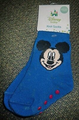 00 - 1 ( 0 - 6 M ) Disney Baby Cobalt Blue Mickey Mouse Socks Non Slip Sole