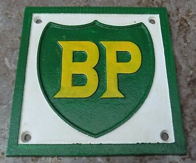 SUPERB HEAVY PAINTED 3 COLOUR CAST IRON ADVERTISING SIGN BP PETROL 16cm WIDE
