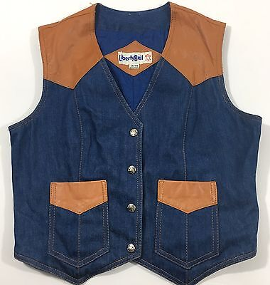 Vintage Denim Leather Vest Snap Women's 13/14 Western Cowgirl Liberty Bell