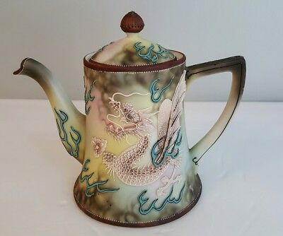 Exceptional Nippon Heavy Moriage Beaded Dragon Ware Teapot