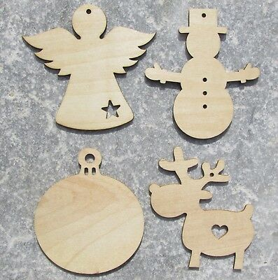 Wooden Christmas Craft Shapes Angel Snowman Bauble Reindeer Xmas 7cm 10cm Wood