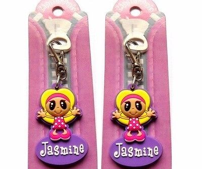 2 Jasmine Zipper Pals -Quality Key Rings/bag Tags- Personalised Gifts Brand New