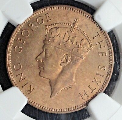 1948 Seychelles, British Colony, 2 Cents,  Ngc Ms-64 Rb