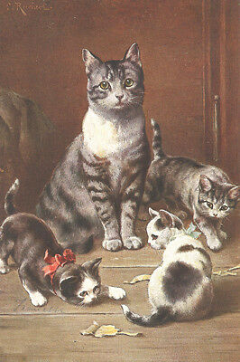 Cat w Kittens Drawing by Carl Reichert 1897 - LARGE New Blank Note Cards