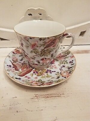 Formalities by baum bros Birds Chintz Collection teacup and saucer