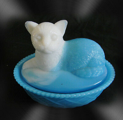 Cat on a basket with white face blue glass - FREE SHIPPING