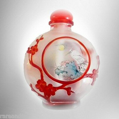 Chinese vintage overlay snuff bottle -  FREE SHIP