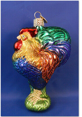 Rooster Old World Christmas Ornament Glass Blown Chicken Farm Bird  NWT 16092
