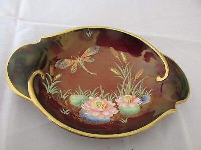 Carlton Ware Rouge Royale Dragonfly and Bullrushes Waterlilies Oval Bowl / Dish