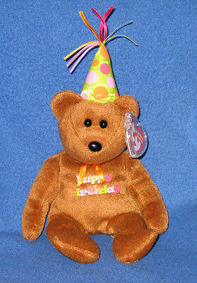 1e34be58ea2 TY HAPPY BIRTHDAY the BEAR DARK BROWN with HAT BEANIE BABY - MINT with MINT  TAGS