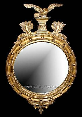 Very Large Ornate Antique Style Eagle Wall Mirror Bevelled Glass Mahogany Gold