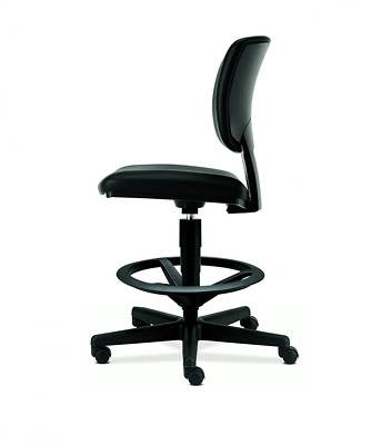 HON Volt Task Stool - Leather Office Stool for Standing Desk, Black (H5705)