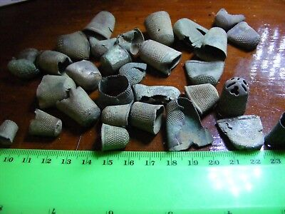 Lot of 31  Vintage  metal-detector found Thimbles, UK,very old,many damaged.