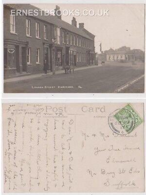 Early Postcard, Norfolk, Swaffham, London St Old Shop, Halls Sanitary, 1917,RP