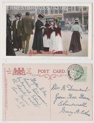 Early Postcard, Norfolk, Swaffham, Roses In Town, Swaffham Postmark, 1909,