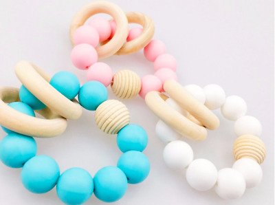 unicorn teether teething pacifier clip silicone baby dummy toy shower wooden