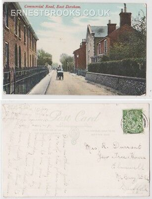 Early Postcard,Norfolk,East Dereham,Commercial Road,Old Houses,Man With Barrow,