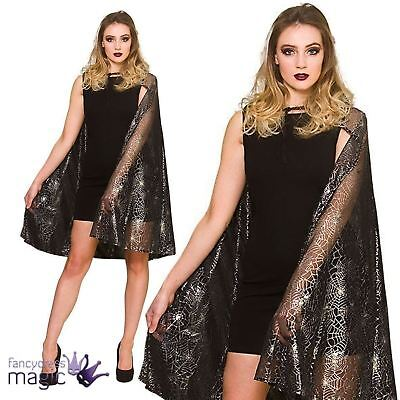 Adults Hooded Black Spiderweb Cape Cloak Witch Halloween Fancy Dress Accessory