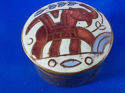 SMALL OLDER Pill Box with Elephant Enamel Brass