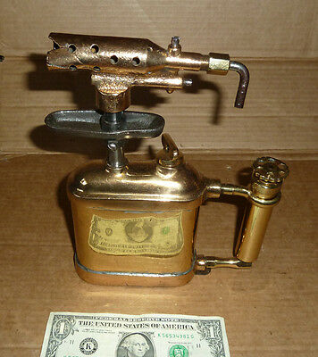 Vintage Brass Blow Torch,POLISHED & LACQUERED,Otto Burns,Newark,NJ,USA,A.9-1/8""