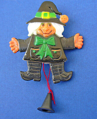 BUY1&GET1@50%~PIN Halloween PULL STRING WITCH Jumping Vtg 1980s Holiday Brooch