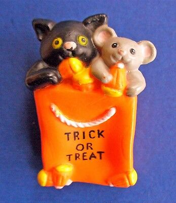 BUY1&GET1@50%~PIN Halloween CAT Black & MOUSE w CANDY CORN Trick or Treat Vtg