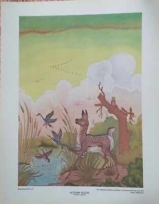 "Woody Crumbo Vintage Print ""autumn Flight"" Potawatomi Native American"