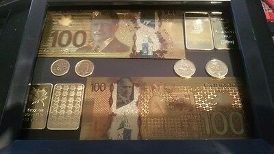 Canada 24k gold bar coin bill banknote $100 penny picture frame Canadian rare