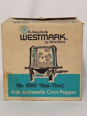 "Vintage WestMark by West Bend 4 QT. Automatic ""See Thru"" Corn Popper #1866"