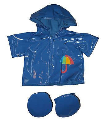"Blue Raincoat w/Boots Outfit Teddy Bear Clothes Fits Most 14"" - 18"" Build-A-Bear"