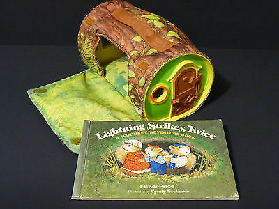 Vintage Fisher-Price #960 The Woodsey's Log House + Woodsey Adventure Book VGUC