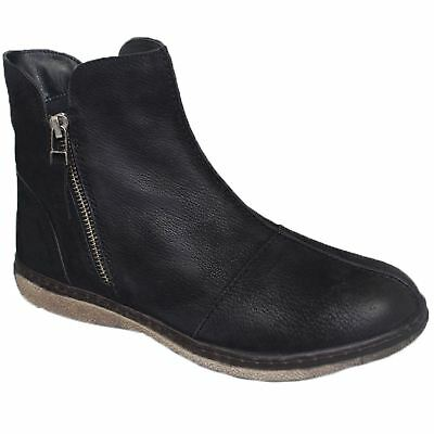 GLH496 Marcella Leather  Side Zipper Comfortable Winter Warm Flat Ankle Boots