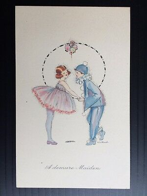 Vintage Deco C.E Shand Christmas Postcard little Girl with Boy Pierrot unused