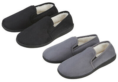 Mens Gents House Slipper Shoes Moccasins Memory Foam Plain Slip On Fur Loafers