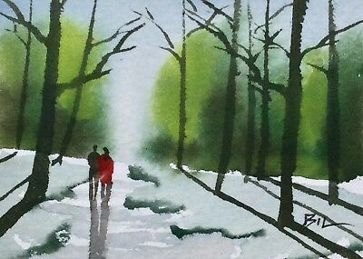 ACEO Original Art Watercolour Painting by Bill Lupton  - Going Home