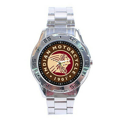 New Indian Motorcycle Vintage Style Classics Chopper Chrome Metal Watch Gift 02