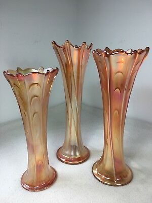 "Collection Art nouveau Carnival Glass Twisted twist Vase Marigold 11"" 10.5"" 9"""