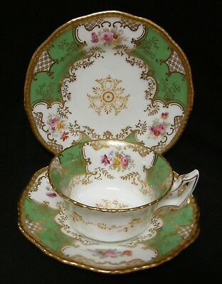 ANTIQUE Coalport batwing green tea cup trio